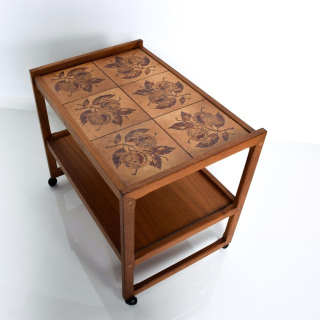 Wood Mid-Century Danish Modern Teak and Tiles Service Table Bakery Bar Trolley For Sale - Image 7 of 12