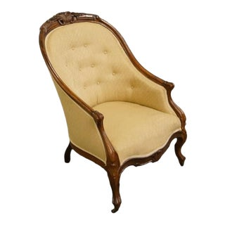 1940's Antique Victorian Parlor Upholstered Mahogany Accent Arm Chair For Sale