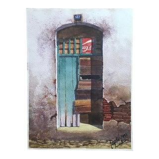 1990s Doorway in Argentina Watercolor Painting For Sale