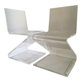 Lucite Z Zig Zag Chairs - A Pair For Sale