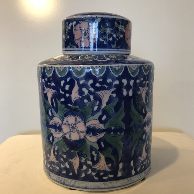 Asian Chinese Style Ceramic Pot With Lid/Topper For Sale - Image 3 of 7