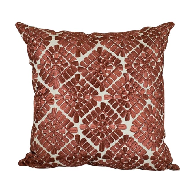 Moroccan Embroidered Pillow, Cinnamon For Sale