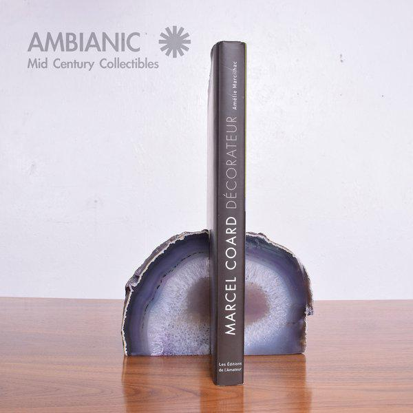 """For your consideration a pair of bookends made of amethysts. Retain stamp """"Made in brazil"""". Measures: 5 1/2"""" T x 2 1/4"""" D..."""