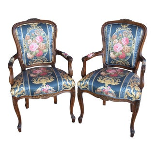 1950s Carved French-Style Floral Chintz Upholstered Arm Chairs - Pair For Sale