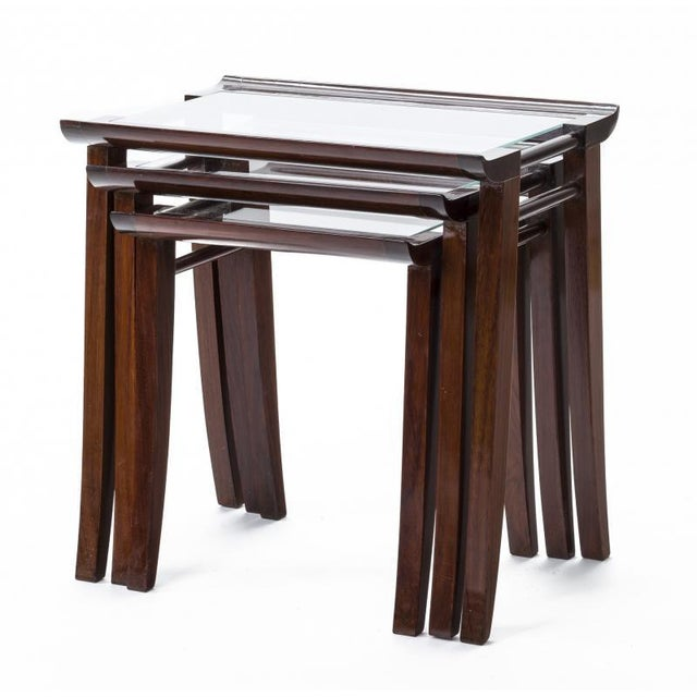 Maxime Old Maxime Old Superb Set of 3 Mahogany Nesting Tables For Sale - Image 4 of 6