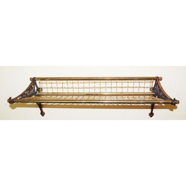 1950s Pullman Train heavy Brass Luggage rack. This is a solid brass railroad car rack. It has slight tarnish and patina,...