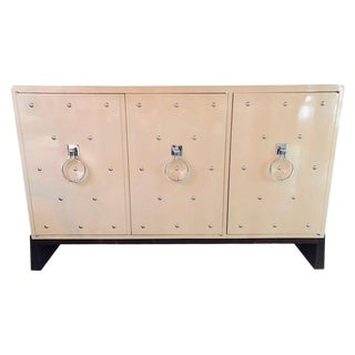 Modern Tommi Parzinger Three-Door Studded Lacquered Cabinet, Commode, Credenza For Sale