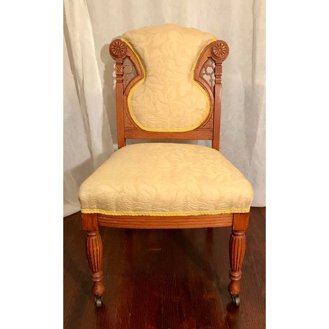Buttercream Charles Lock Eastlake Styled Carved Victorian Era Accent Chair For Sale In Los Angeles - Image 6 of 6