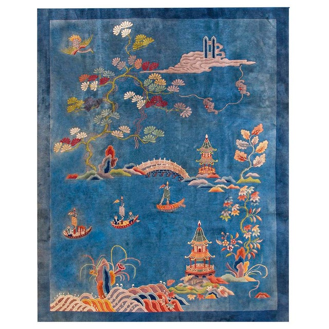 """1920s Antique Chinese Art Deco Rug- 9'0"""" X 11'9"""" For Sale In New York - Image 6 of 6"""