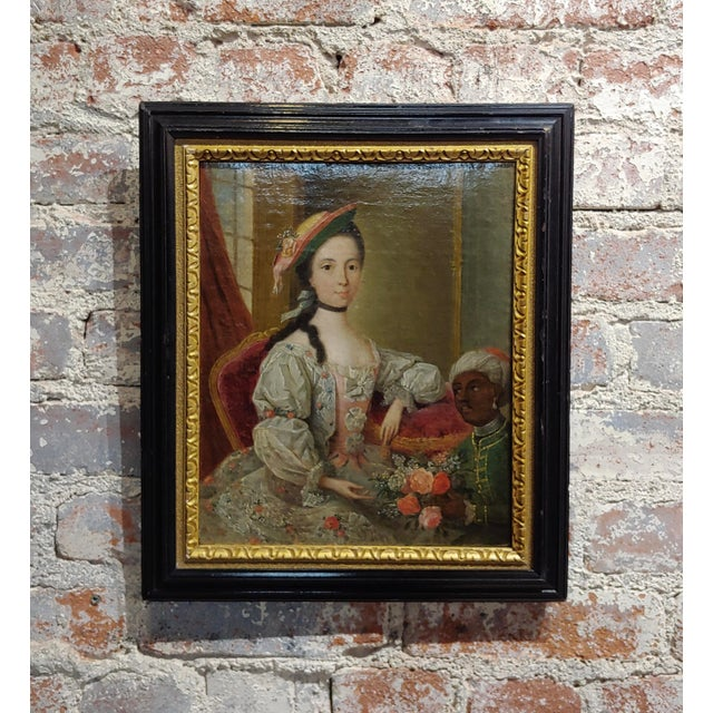 """18th Century """"Aristocratic Lady & Her Black Slave"""" Oil Painting by Friedrich Ludwig Hauck For Sale - Image 10 of 10"""