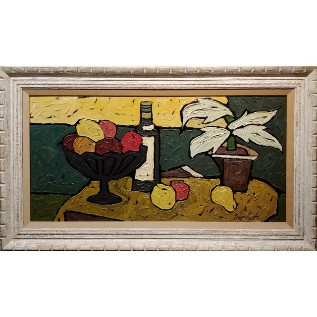 """Bernet - Still Life of Fruits - 1960s French Oil painting Oil painting on board -Signed Circa 1960s frame size 49 x 28""""..."""