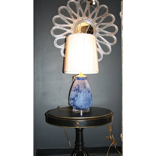 Modern Frosted Royal Blue Glass Table Lamp - Image 7 of 8