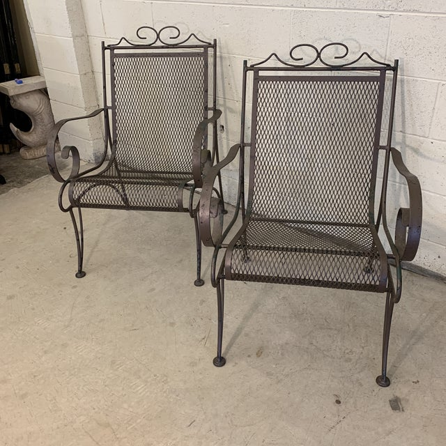 Hollywood Regency Vintage Iron Patio Chairs - a Pair For Sale - Image 3 of 11