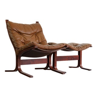 1970s Vintage Westnofa Design Chair & Matching Ottoman For Sale