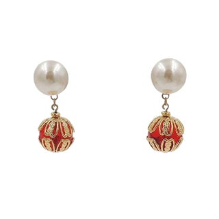 Circa 1990 Napier Faux-Pearl Earrings For Sale