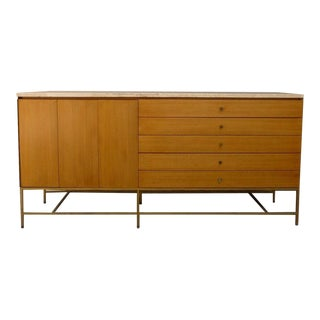 1950s Mid Century Modern Calvin Paul McCobb Travertine Marble Top Sideboard For Sale