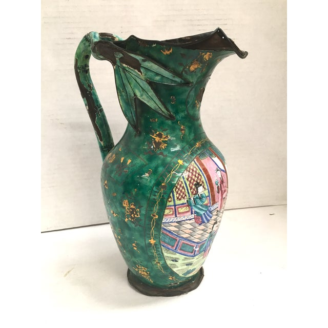 Unique Antique Asian Motif Pitcher. Unusual bamboo stalk with leaves handle. Hand painted inside and outside. Signed on...