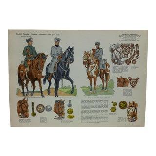 "Vintage Mid-Century ""No. 110 - Preuben - Husaren Ausmarsch - 1914"" Original German Military Uniform Print For Sale"