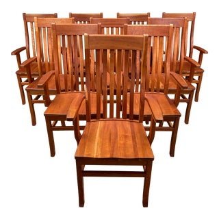 L. Halteman Custom Design Solid Cherry Dining Arm Chairs, Set of Ten For Sale