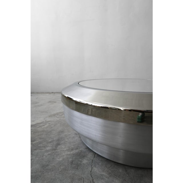 Round Aluminum Chrome and Mirror Drum Canister Coffee Table by Gj Neville For Sale In Las Vegas - Image 6 of 10