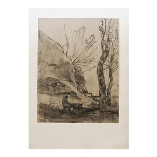 1959 Lithograph After Shepherd With a Goat Drawing by Corot
