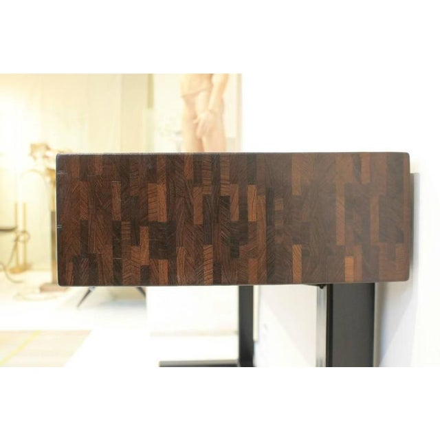 Lead Contemporary Console Table, Using a J. Wabbes 1960's Wenge End-Grain Wood Top For Sale - Image 7 of 8
