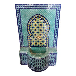 Blue Green and Yellow Moroccan Mosaic Tile Fountain For Sale