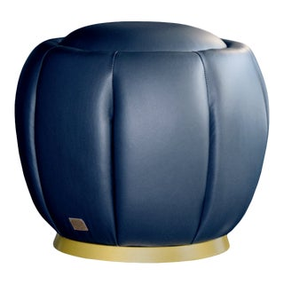 Modern Selena Black Leather Pouf For Sale