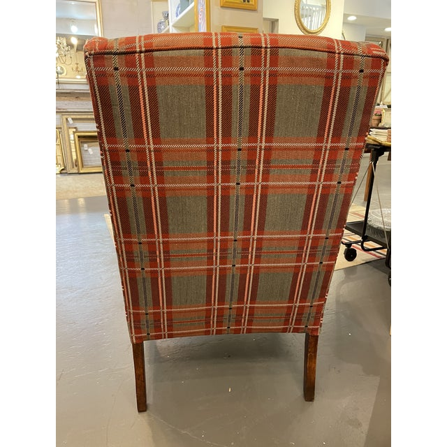 1920s Antique Plaid Wingback Chair For Sale - Image 5 of 6