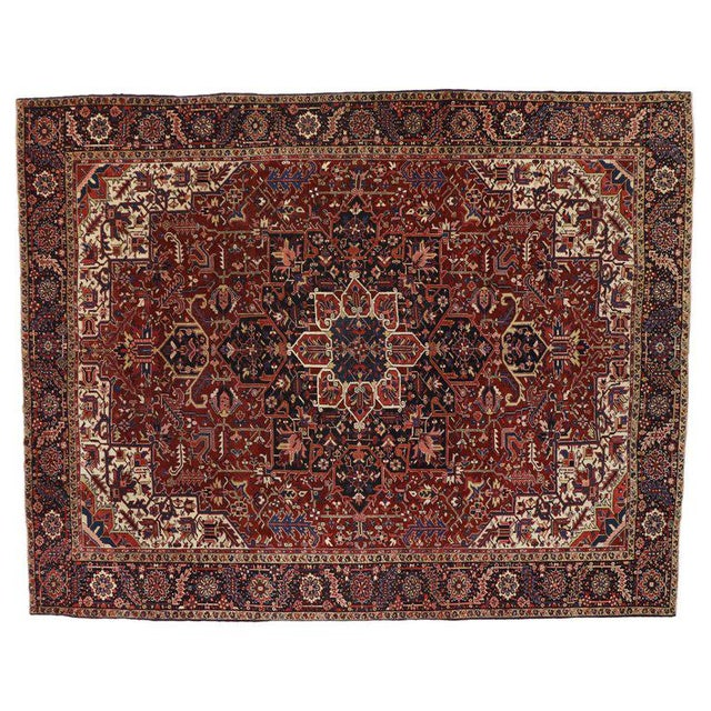 Antique Persian Heriz Rug with Modern Traditional Style For Sale - Image 9 of 10