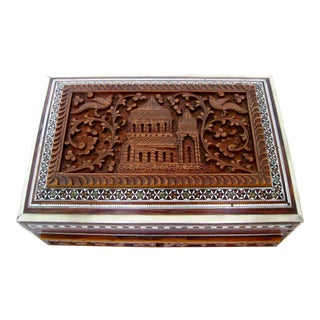 Anglo-Indian Carved Wood Box For Sale