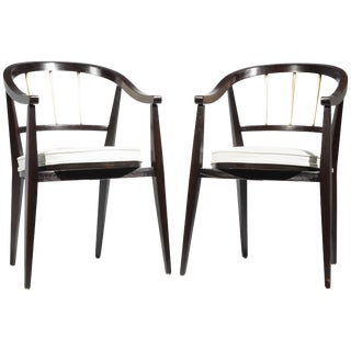 "Edward Wormley for ""Dunbar"" Leather Armchairs - a Pair For Sale"