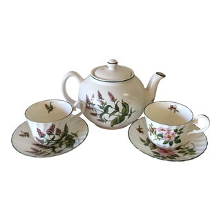 1950s English Royal Patrician Fine Bone China Teapot and Teacups and Saucers - Set of 3 For Sale