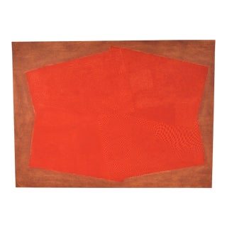 """1980s Arthur Luiz Piza """"Composition"""" Red Intaglio Etching For Sale"""