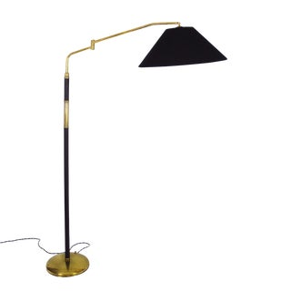 1940s System Polished Brass Standing Lamp, Brass, Leather, Italy For Sale