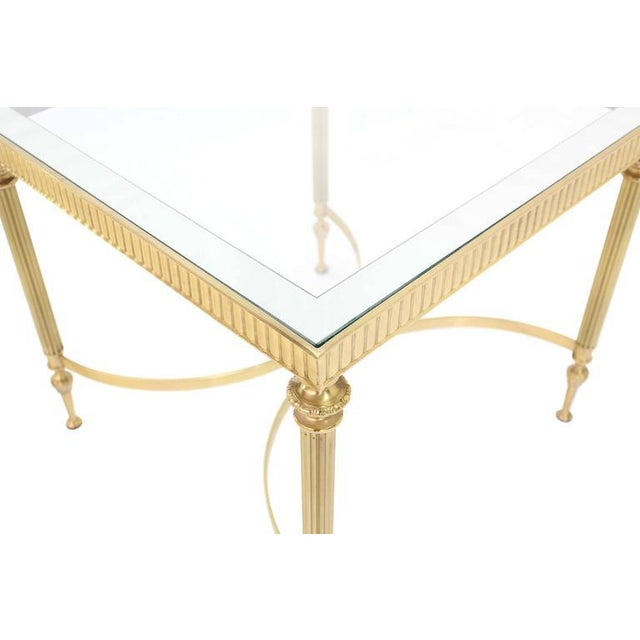Italian Pair of Brass Mirrored Frame Glass Top End Side Tables For Sale - Image 3 of 8