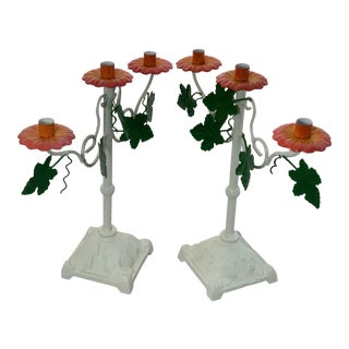 Vintage Hand Painted Iron Tole Pink Green and White Floral Candelabras - a Pair For Sale