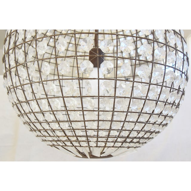 Brown Late 20th Century Crystal Prism Sphere Ball Chandelier For Sale - Image 8 of 13
