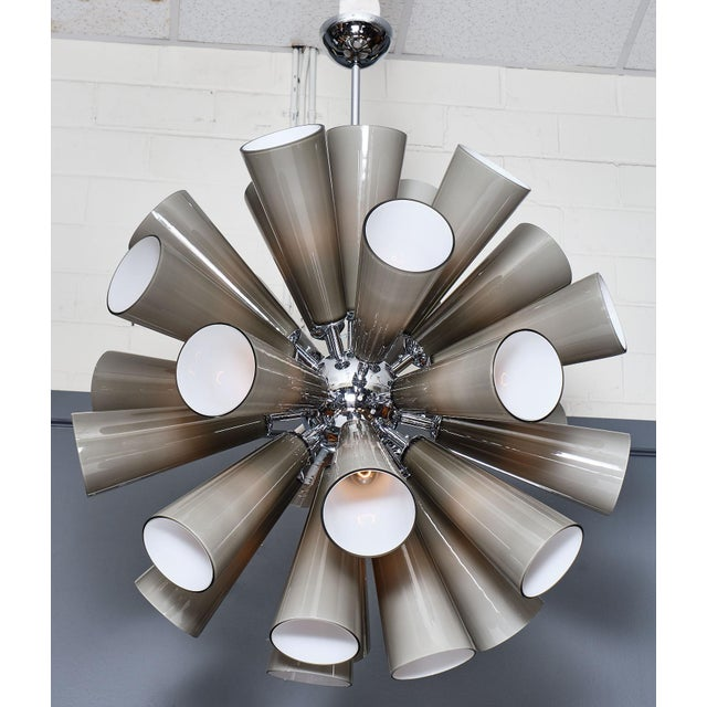 Murano glass gray sputnik chandelier featuring multiple blown glass components in conic shapes. Each glass piece has a...