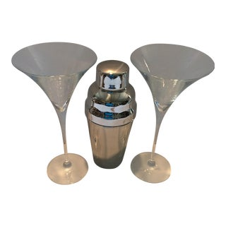 Martini Glasses & Stainless Steel Cocktail Shaker - Set of 3 For Sale