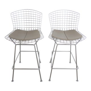 Bertoia for Knoll Polished Chrome and Pewter Stools - a Pair For Sale