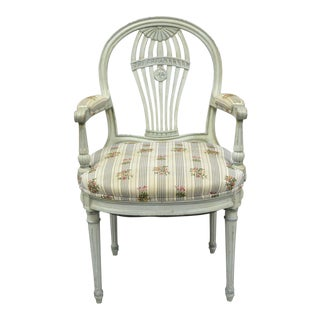 French Louis XVI Style Hot Air Balloon Back Montgolfier Blue Armchair For Sale