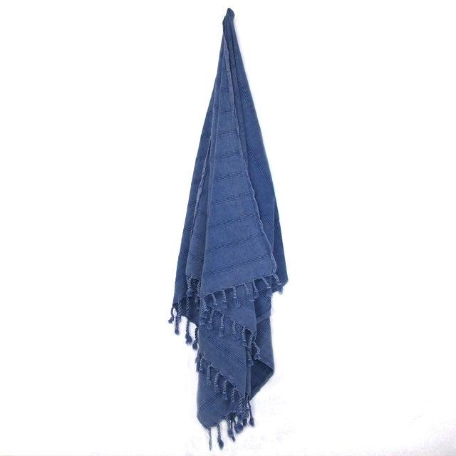 Handwoven Turkish Denim Blue Towel - Image 2 of 2