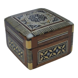 Vintage Moroccan Mother-Of-Pearl Inlaid Box For Sale