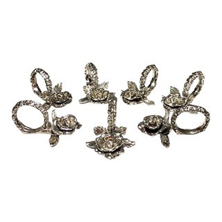 1970's French Country Heritage Silver Rose Napkin Rings - Set of 7 For Sale