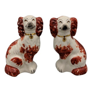 20th Century Traditional Hand Painted Red Staffordshire Spaniel Dog Reproductions - a Pair