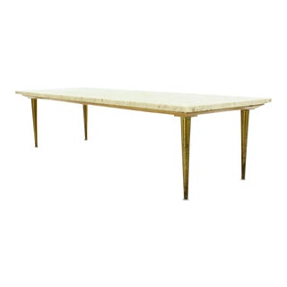 Clean Lines Mid Century Modern Design Table w/ Marble Top. For Sale