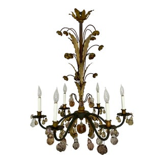 Vintage French Tole Flower and Glass Fruit Chandelier For Sale