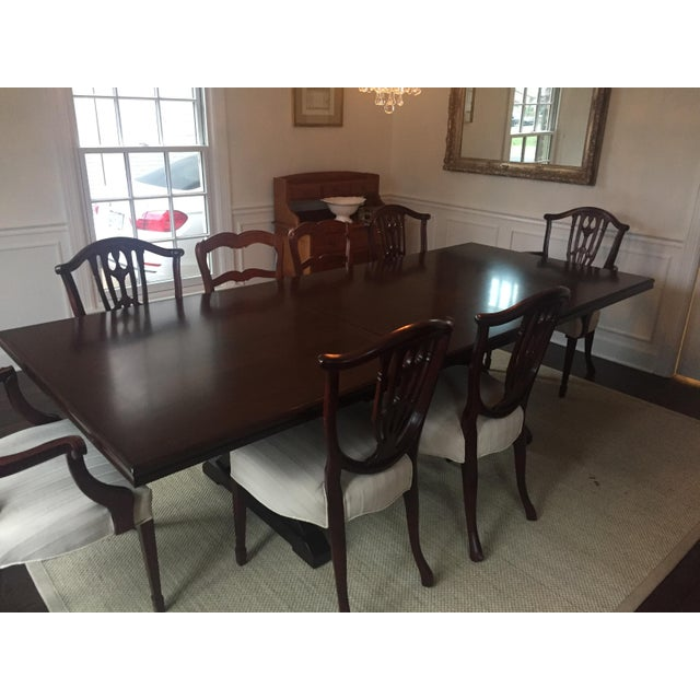 Mahogany Finish Solid Dining Table For Sale - Image 4 of 8