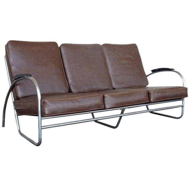 Wolfgang Hoffmann Style Chrome Tublar Sofa by Royal Metal - Image 1 of 9